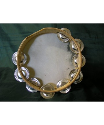 Pandereta gallega tradicional - 9 pares de sonajas 25cms de diámetro x  6,8 cms de marco Peso 330g.